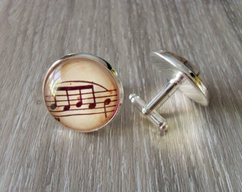 VINTAGE Sheet MUSIC  Silver Cufflinks// Music Notes  // Gift for Him // Musician Gift // 2 Sizes to choose from // Gift boxed