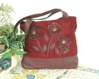 Recycled Leather Handbag Tote - Cranberry Suede & Wine Leather with Whimsical Applique Flowers