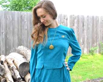 Filigree Gold & Teal Dress Vintage 1970s Leslie Fay Floral Turquoise Blue Brocade Puff Button Sleeves Mock Two Piece Faux Pocket Size 8 Midi