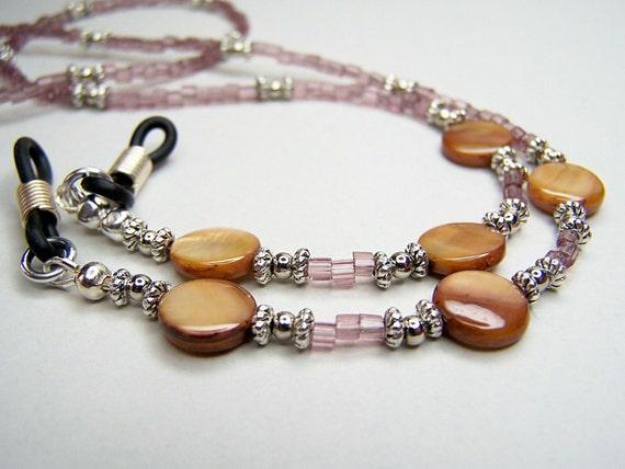 Purple Eyeglass Chain, Mark Down, Mother of Pearl, Button Beads, Beaded Eyeglass Chain, Eyeglass Holder by Eyewearglamour