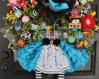 """PRE-ORDER- """"Alice in Wonderland"""" Wreath- an Original Creation by Petals & Plumes (SEE Production time for 2017 Delivery)"""