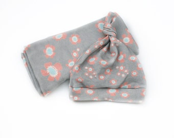 Baby Girl Floral Knotty Hat and Blanket - Gray with Coral and Blue Flowers -  Organic Baby Swaddle Blanket and Matching Hat Eco-Friendly