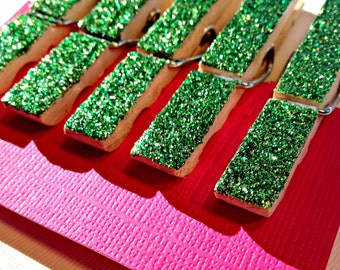 Green Glitter Sparkle Organize Clothespins Set of 5