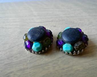 Something Blue Earrings Vintage Earrings 1950s Exotic Leather Navy Blue Hue Clip-ON Earrings Vintage Earring Jewelry Supply for Re purpose