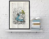 Vintage Book Print  Alice in Wonderland alice with deck of cards Print on Vintage Dictionary Book art BPAW06