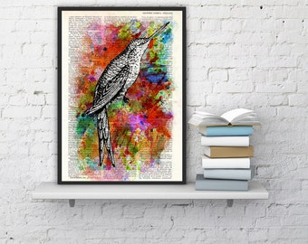 Summer Sale Hummingbird Collage water color Print on Vintage Dictionary Book altered dictionary page illustration book print art ANI108b