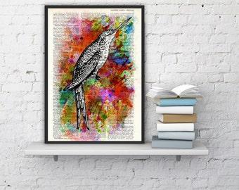 Summer Sale Watercolor hummingbird dictionary print  hummingbird poster print, wall decor, hanging art original illustration ANI108