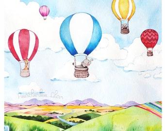 Hot Air Balloon Watercolor - Print of Painting