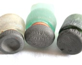 Set of 6, Seaglass Bottle Necks with Original Black Stoppers, Collectibles, Craft Supplies, Interesting Beach Finds