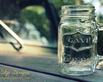 Custom Engraved Glass Mason Jar Mug - Engraving Included