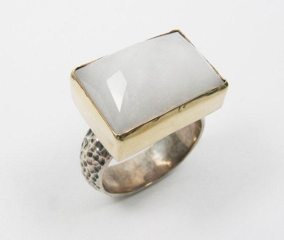 white jade ring sterling silver 9k gold jade ring