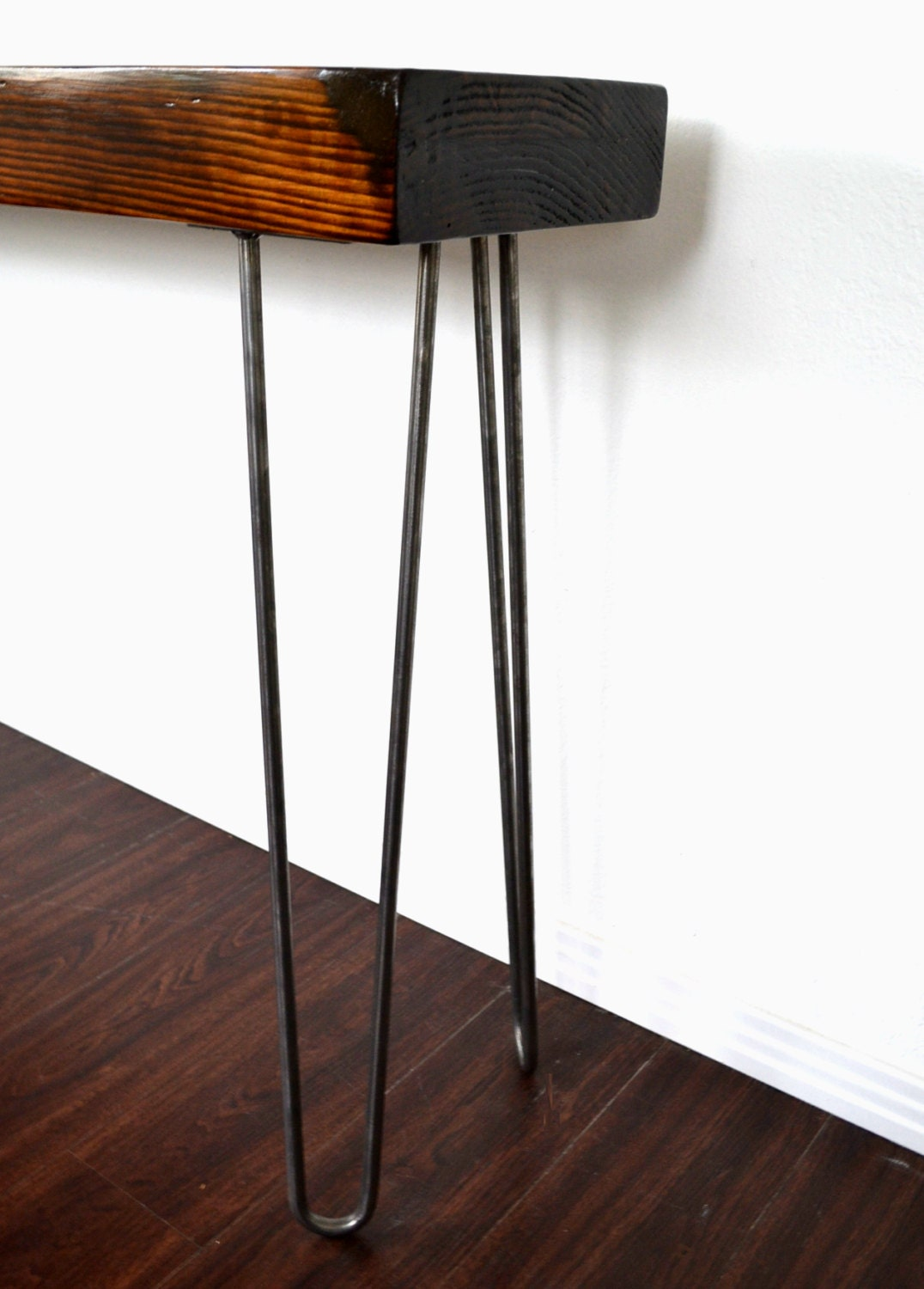 Console Table Reclaimed Wood Beam On Hairpin Legs By