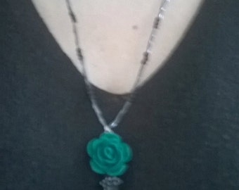 rose necklaces with black onyx pendent