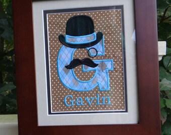Personalized Gentleman with mustache monogram wall art//mustache//bowler hat//monocle//baby gift//nursery decor//baby shower//monogram