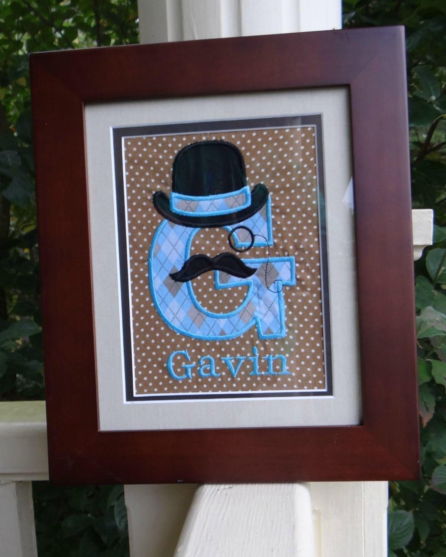 Baby Monogram Wall Decor Personalized Gentleman With Mustache Monogram Wall Art Mustache