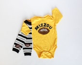 Mizzou Football Baby Bodysuit and Football Leg Warmers, University of Missouri, Football, Mizzou Tigers