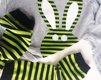 Baby Boy Easter Lime Green Black Easter Bunny Rabbit Bodysuit with Striped Baby Leg Warmers for Boy