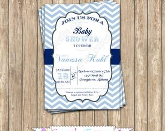 DIY  Baby boy Light Blue & Navy  chevron Baby Shower  PRINTABLE Invitation 5x7