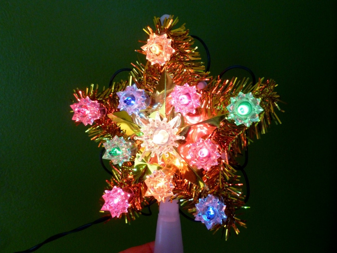 Christmas Tree Star Blinking Lights Gold Tinsel Multi Color