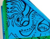 Octopus Bandana - Green or Turquoise Cotton - Black Ink - Screen Printed