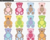 Teddy Bear Clipart, Teddy Clip Art, New Baby Clipart, Digital Baby Clip Art, Instant Download, Commercial Use