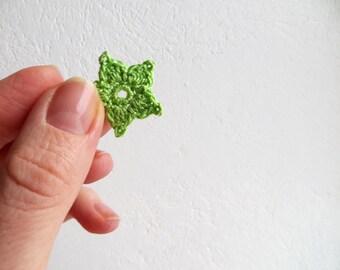 Crochet Flower Appliques, Small Starflower Motif, Decorative Crochet, Spring Green, Set of 7, Embellishments, Scrapbooking