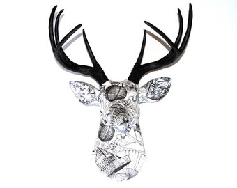 FAUX TAXIDERMY - Black and White Fabric Deer - Faux Taxidermy Deer Head Wall Mount  - Paper Theme - FAD3817