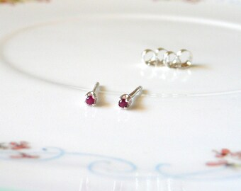 1.5mm ruby tiny micro earrings, simple sterling silver studs, lab ruby gemstone earrings, ruby birthstone, July birthstone stud earrings