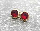 Ruby Red Diamond Rhinestone Stud Earrings Swarovski Crystal Frosted Cranberry Red Diamond Post Dangle Earrings Mashugana