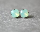 Mint Opal Earrings Swarovski Crystal Chrysolite Opal Stud Earrings Super Sparklers Square Gift Mashugana