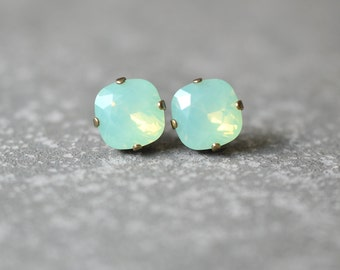 Mint Opal Earrings Swarovski Crystal Chrysolite Opal Stud Earrings Super Sparklers Square Gift Mashugana