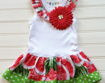 Custom Boutique Watermelon Dress Girls Dresses Red Lime Green Dress Kids Baby Dresses Girls Clothing Available 0-3 months through Size 6/8