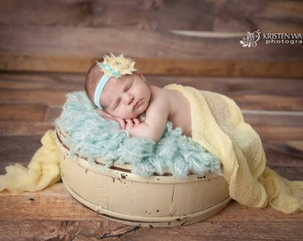 Aqua and Yellow Shabby Rose headband- newborns, babies, girls, women, photo prop