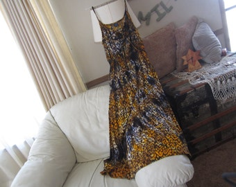 """Tie dye dress, Adult Large (size 12-14)- """"GO WILD"""" in leopard/cheetah print, with spaghetti straps and  elastic waistline, 500"""