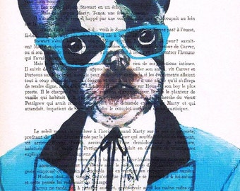Original Illustration Digital Print Mixed Media  Art Poster Acrylic Painting Holiday Decor Drawing Gifts: Blue Glasses French Bulldog