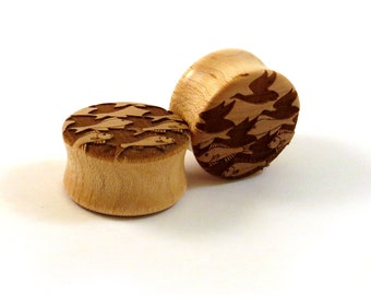 "Sky and Water Maple Wooden Plugs - PAIR - 11/16"" (17.5mm) 3/4"" (19mm) 13/16"" (20.5mm) 7/8"" (22mm) 1"" up to 2"" (51mm)  M.C. Escher Ear Gauges"