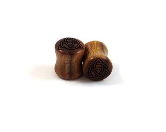 """Trinity Celtic Knot Lignum Vitae Wooden Plugs PAIR 2g 6.5mm 0g 8mm 00g 9mm 10mm 7/16"""" 11mm 1/2"""" 13mm 9/16"""" 14mm 5/8"""" and up Wood Ear Gauges"""
