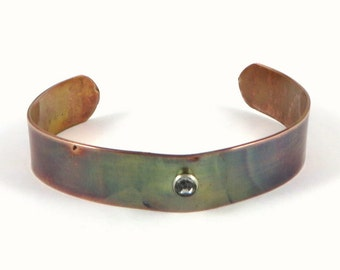Copper Cuff Bracelet Crystal Torch Painted Copper, Narrow Cuff, MetalWork Jewelry