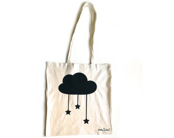 Fall Natural tote bag with black cloud and stars
