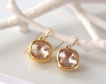 Simple Gold Crystal Earrings  - Gold Swarovski Crystal Earrings