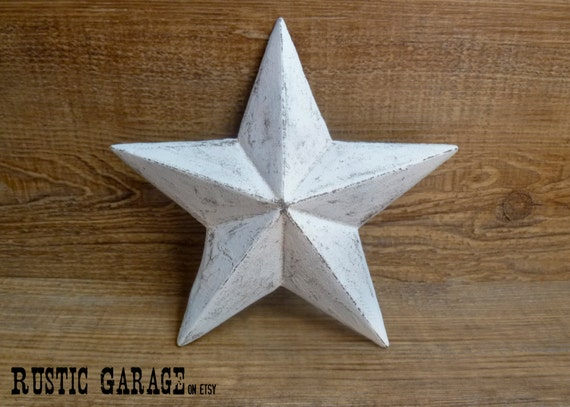 White Star Wall Decor : White handpainted distressed cast iron texas star wall