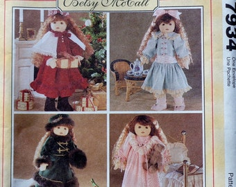McCall's Crafts Sewing Doll Clothes Wardrobe Pattern 7934 BETSY MCCALL - Fits American Girl Our Generation Carpatina Gotz Dolls