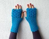 Accesorio de invierno guantes sin dedos brazo lindos calentadores turquesa tejer guantes sin dedos calentadores guantes de medio dedo de la mano
