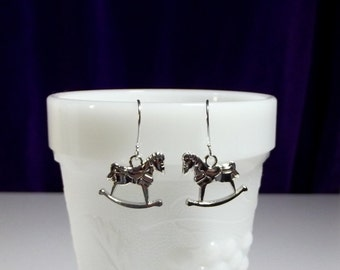 Rocking Horse Charm Drop Earrings, Mom Sister Grandmother Jewelry Gift, Pretty, Simple