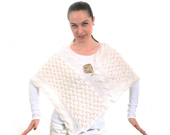 White Wedding Poncho Shawl, Hand Knitted Bridal Shawl sewn pearls by Solandia, bridal fashion