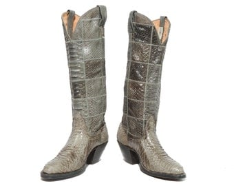 5 B | Women's Nocona Full Snakeskin Cowboy Boots Patchwork Stitch Grey Reptilian Country Western Boots