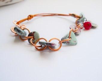 Bracelet, Leather, Mykonos Greek Ceramic Beads, and Copper, OOAK, BOHO, Hippie