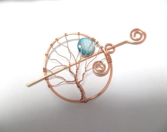 Copper Tree of Life Hair Pin, Turquoise Blue Moon Shawl Pin, Wire Wrapped Tree Pin, French Twist Barrette