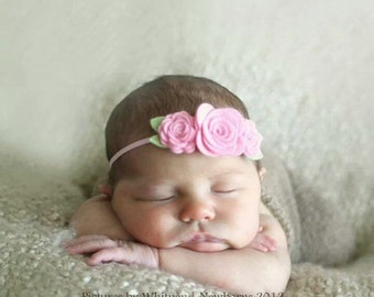 Baby Headband - Felt Flower Headband - Trio of  Roses in Cotton Candy Pink - Newborn Baby to Adult