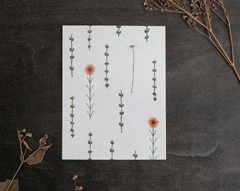 Botanical Flower Pattern 4x5 Print - High Quality Print - Watercolor Illustration - Botanical